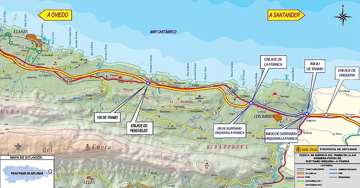 Fomento finaliza la autovía A-8 en Asturias