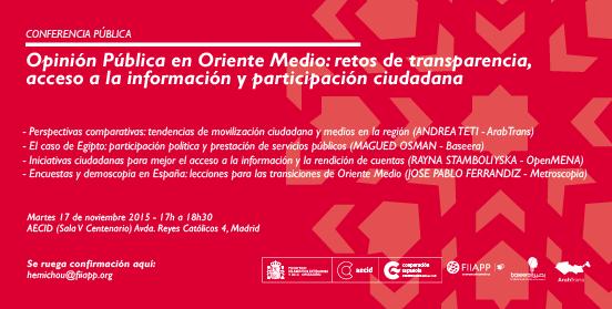 """Conferencia """"Opinión Pública en Oriente Medio: retos de transparencia, acceso a la información y participación ciudadana"""""""